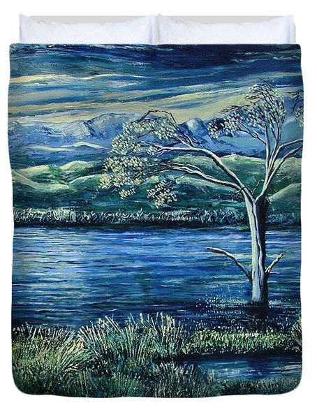 Twilight At The River Duvet Cover by Caroline Street