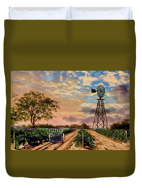 Twilight At The Vineyard Duvet Cover