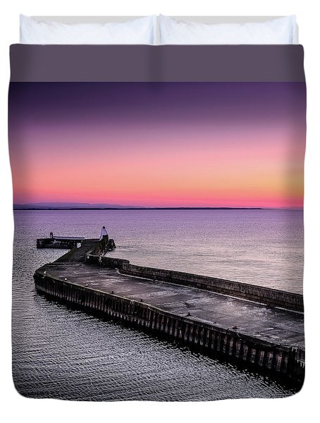 Twilight, Burghead Harbour Duvet Cover