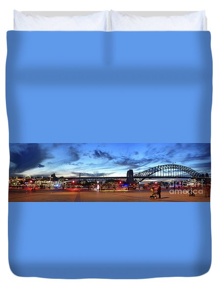 Duvet Cover featuring the photograph Twilight By The Bridge By Kaye Menner by Kaye Menner