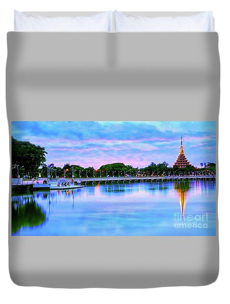 Twilight City Lake View Duvet Cover