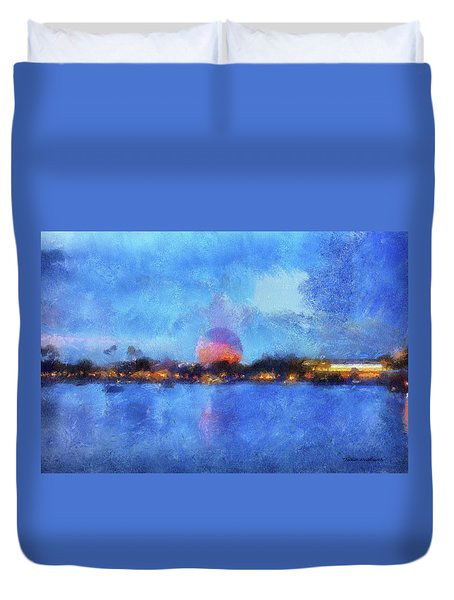 Twilight Epcot World Showcase Lagoon Wdw 02 Photo Art Mp Duvet Cover