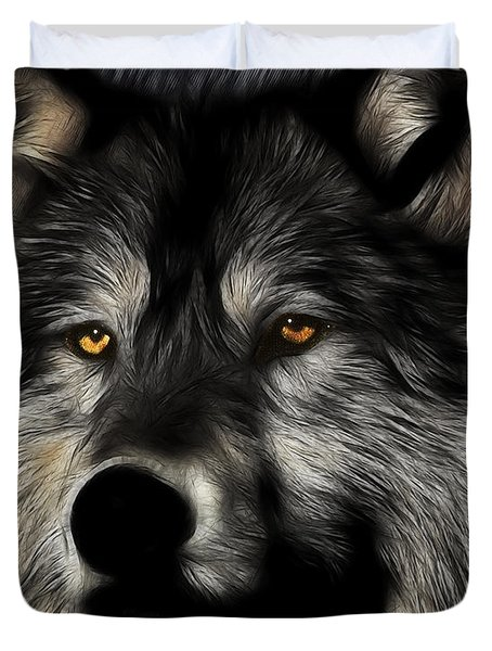 Twilight Eyes Of The Lone Wolf Duvet Cover by Wingsdomain Art and Photography