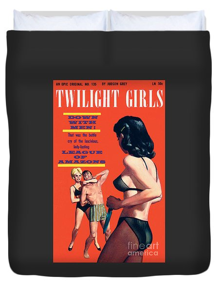 Duvet Cover featuring the painting Twilight Girls by Doug Weaver