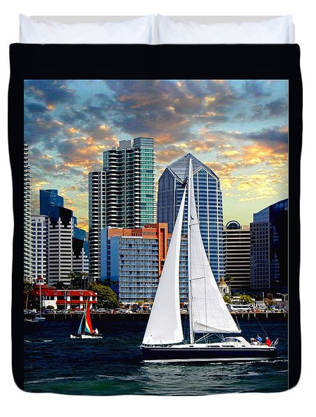 Twilight Harbor Curise1 Duvet Cover