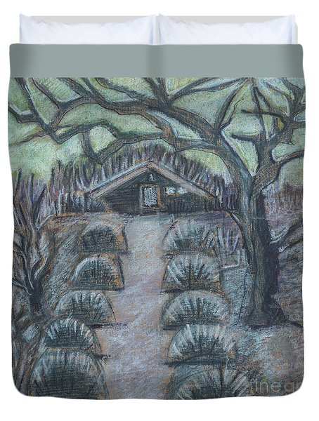 Duvet Cover featuring the drawing Twilight In Garden, Illustration by Ariadna De Raadt