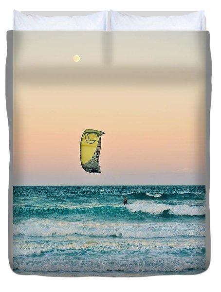 Twilight Kite Surfer Under The Moon Duvet Cover