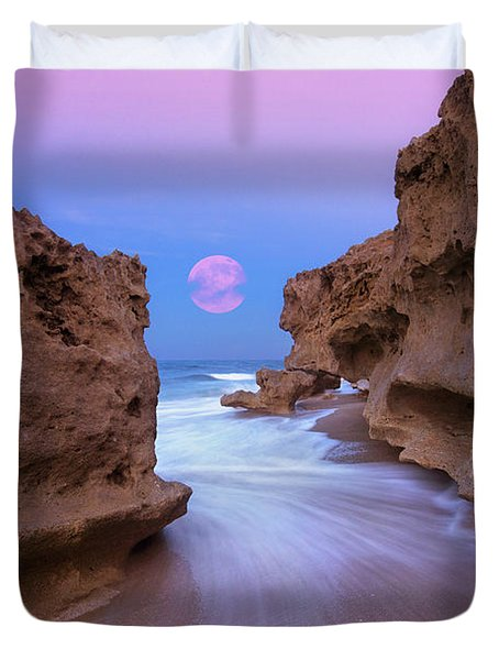 Twilight Moon Rising Over Hutchinson Island Beach Rocks Duvet Cover