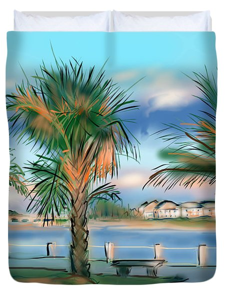 Twilight On Saw Fish Bay Duvet Cover