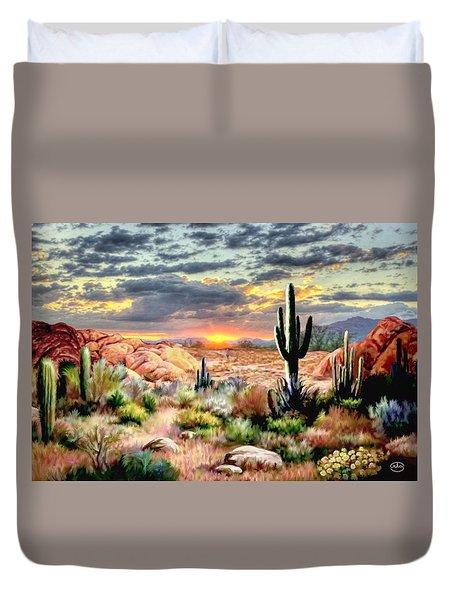 Twilight On The Desert Duvet Cover by Ron Chambers