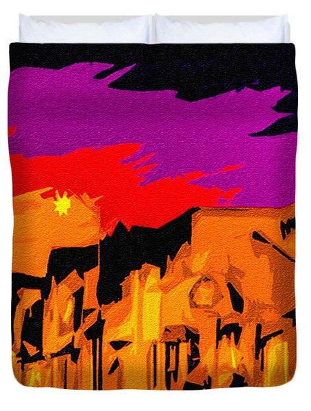 Twilight On The Plaza Santa Fe Duvet Cover
