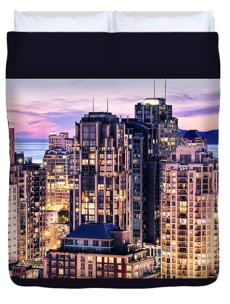 Twilight Over English Bay Vancouver Duvet Cover by Amyn Nasser