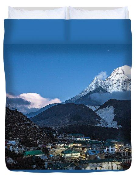 Twilight Over Pangboche In Nepal Duvet Cover