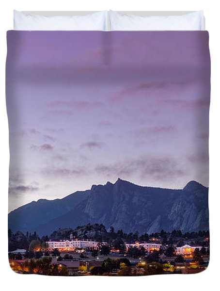Twilight Panorama Of Estes Park, Stanley Hotel, Castle Mountain And Lumpy Ridge - Rocky Mountains  Duvet Cover