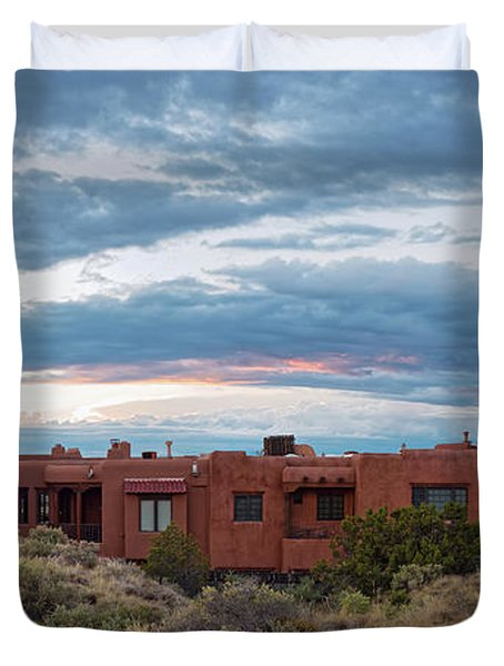 Twilight Panorama Of Pueblo Revival Architecture At Cross Of The Martyrs - Santa Fe - New Mexico Duvet Cover