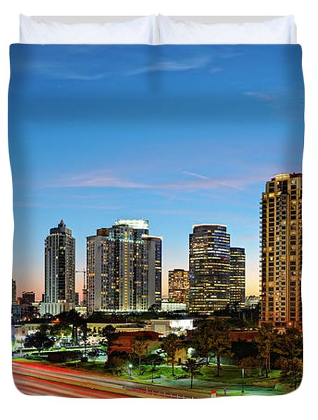 Twilight Panorama Of Uptown Houston Business District And Galleria Area Skyline Harris County Texas Duvet Cover