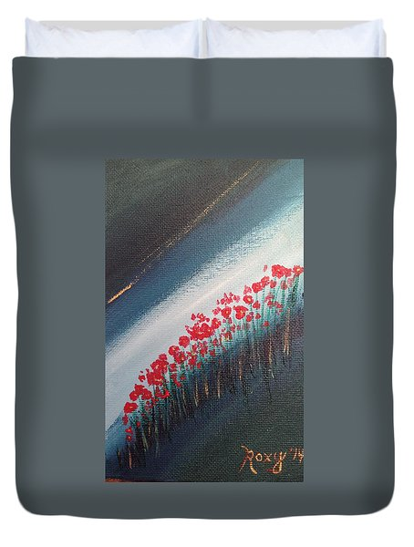 Twilight Poppies Duvet Cover by Roxy Rich