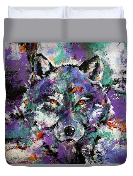 Twilight Purple Wolf Duvet Cover