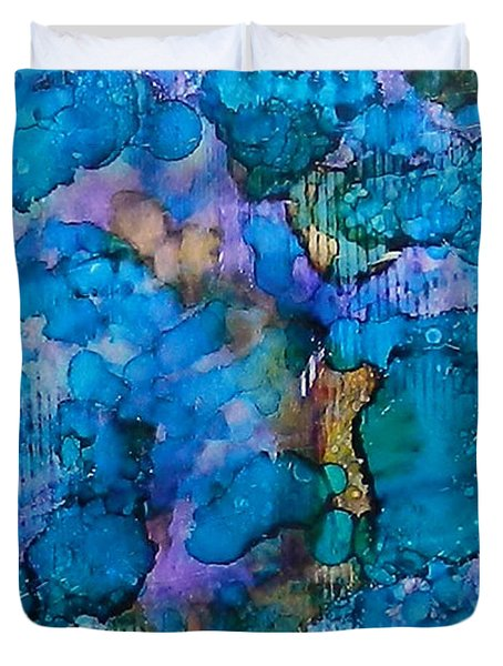 Duvet Cover featuring the painting Twilight Recall Ink #20 by Sarajane Helm