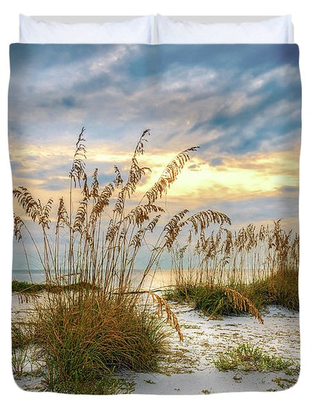 Duvet Cover featuring the photograph Twilight Sea Oats by Steven Sparks