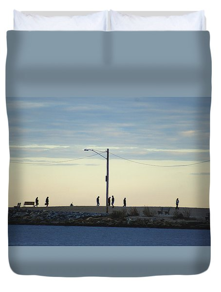 Duvet Cover featuring the photograph Twilight Shoreline Stroll by Margie Avellino