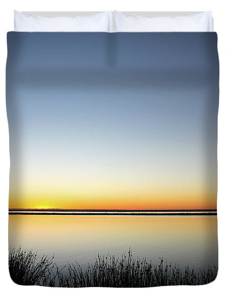 Twilight Stillness Down By The Beach Lagoon Duvet Cover