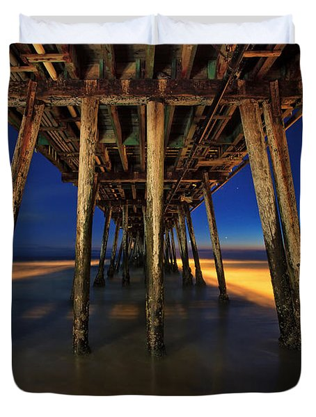 Twilight Under The Imperial Beach Pier San Diego California Duvet Cover