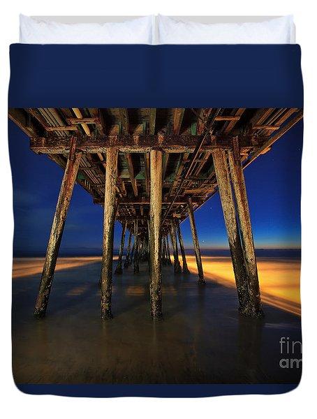 Twilight Under The Imperial Beach Pier San Diego California Duvet Cover by Sam Antonio Photography