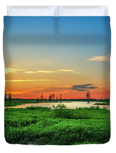 Duvet Cover featuring the photograph Twilights Arrival by Marvin Spates