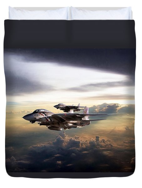 Duvet Cover featuring the digital art Twilight's Last Gleaming by Peter Chilelli
