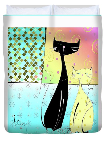 Duvet Cover featuring the mixed media Cattitude by Larry Talley