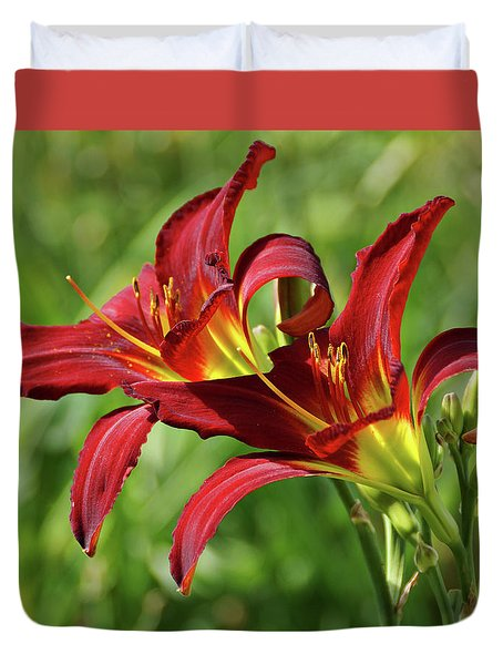 Duvet Cover featuring the photograph Twin Daylilies by Sandy Keeton