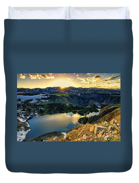 Twin Lakes Sunset Duvet Cover