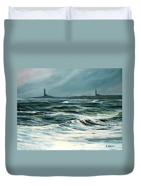 Twin Lights Rockport Ma Duvet Cover by Eileen Patten Oliver