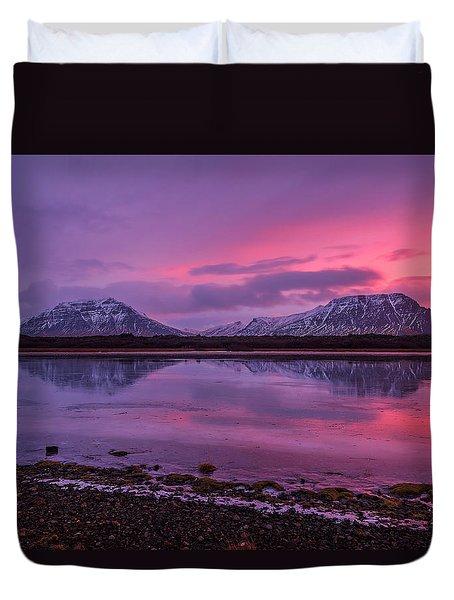 Duvet Cover featuring the photograph Twin Mountain Sunrise by Pradeep Raja Prints