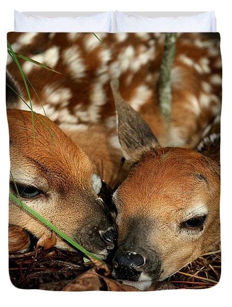 Twin Newborn Fawns Duvet Cover by Michael Dougherty
