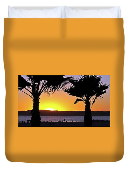 Twin Palms At Sunset Duvet Cover