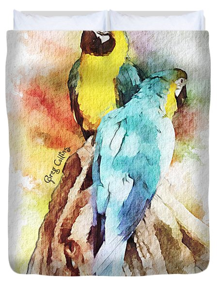 Twin Parrots Duvet Cover by Greg Collins
