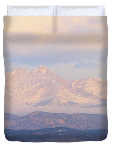 Twin Peaks Meeker And Longs Peak Panorama Color Image Duvet Cover by James BO  Insogna