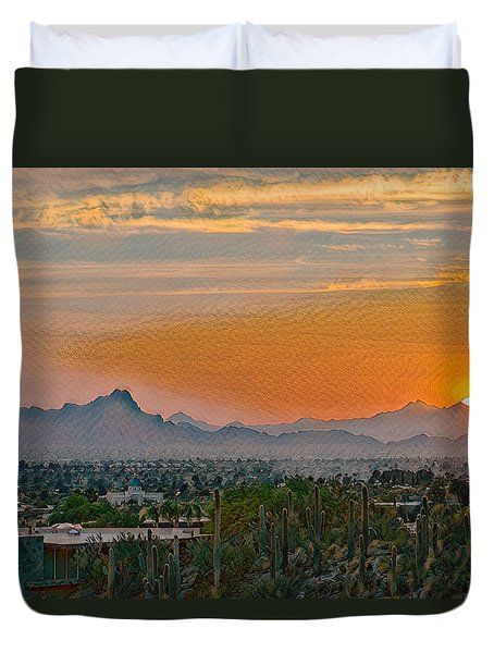 Duvet Cover featuring the photograph Twin Peaks Sunset Remix by Dan McManus