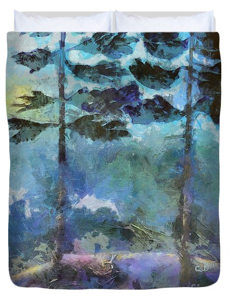 Duvet Cover featuring the photograph Twin Pines by Claire Bull