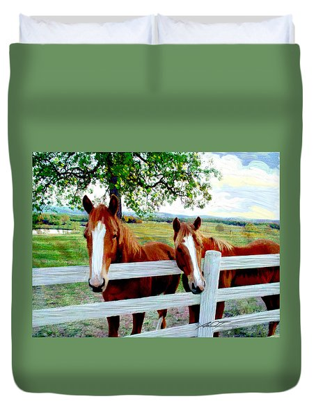 Twin Ponies Duvet Cover