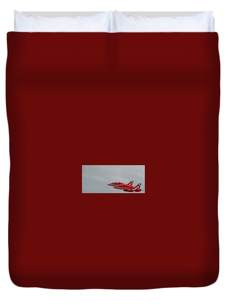 Duvet Cover featuring the photograph Twin Red Arrows Taking Off - Teesside Airshow 2016 by Scott Lyons