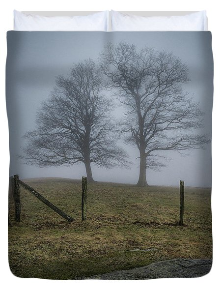 Twin Trees Late Fall Foggy Morning Duvet Cover