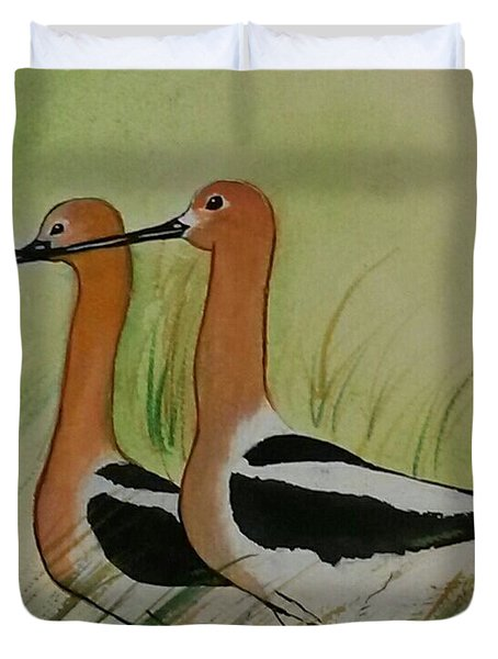 Duvet Cover featuring the painting Twins Of Feathers by Joetta Beauford