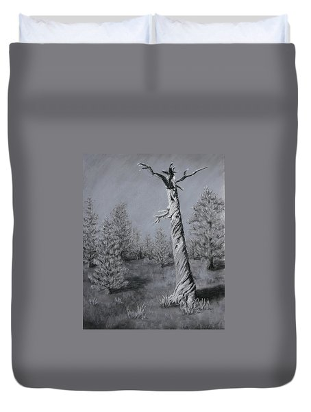 Duvet Cover featuring the painting Twisted by Nancy Jolley