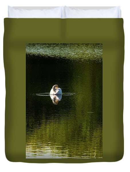 Duvet Cover featuring the photograph Twisted Swan by Onyonet  Photo Studios