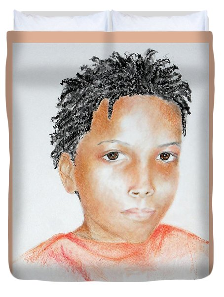 Twists, At 9 -- Portrait Of African-american Boy Duvet Cover