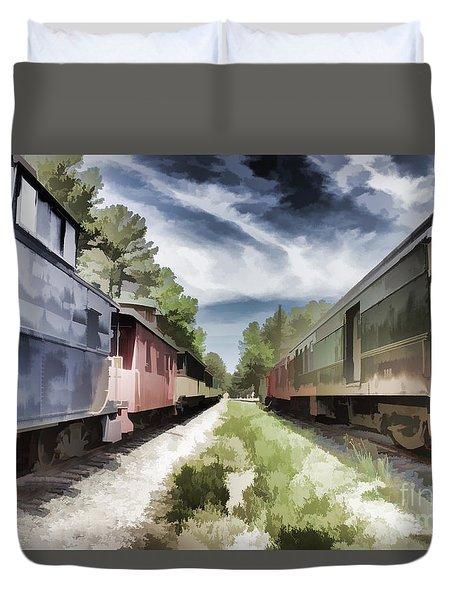 Twixt The Trains Duvet Cover
