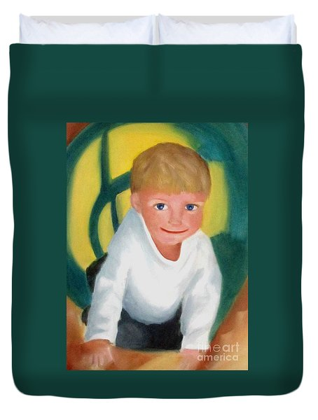 Duvet Cover featuring the painting Two And A Half by Patricia Cleasby